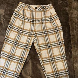 TopShop plaid pleated trouser S8